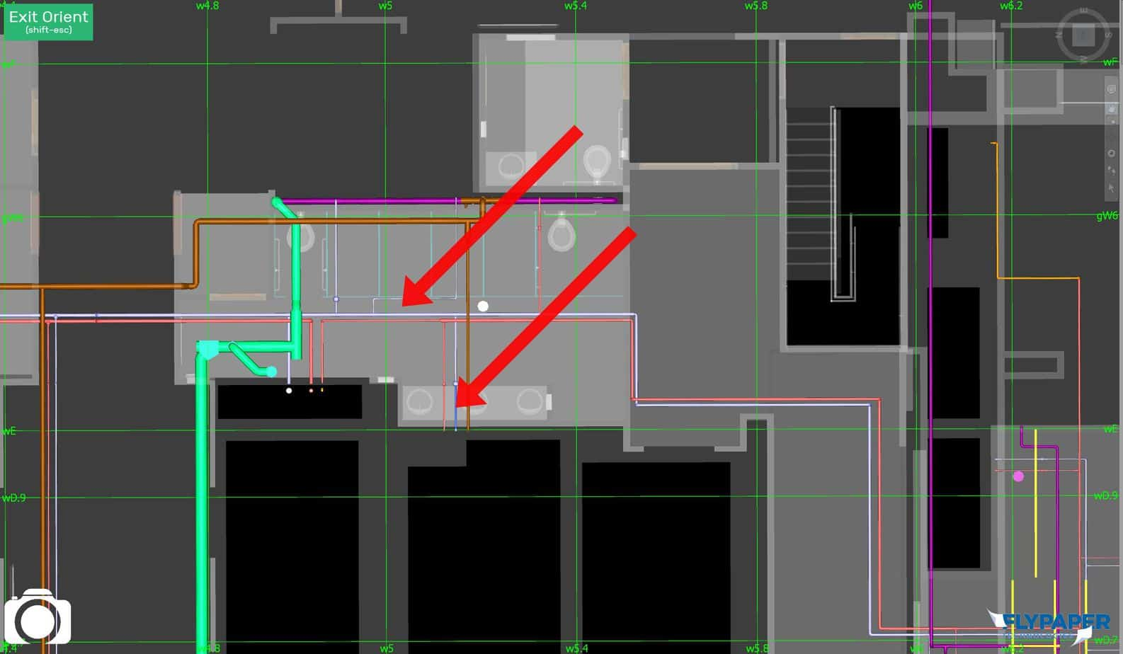 Select something in the Architectural model and something in the plumbing model to review fixture connections.